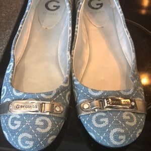 Women's Blue and White Guess Shoes Size 10 M.
